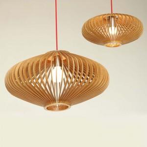 Đèn lồng gỗ thả trần hình đĩa bay