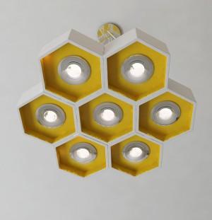 Đèn gỗ tổ ong phòng khách