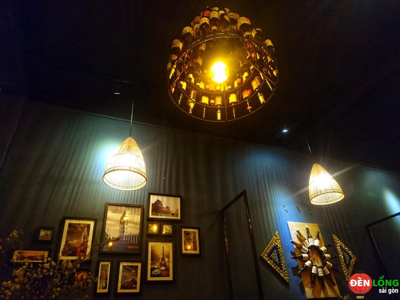 đèn tre trúc quán cà phê